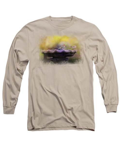 Finches On The Bird Bath Long Sleeve T-Shirt by Jai Johnson