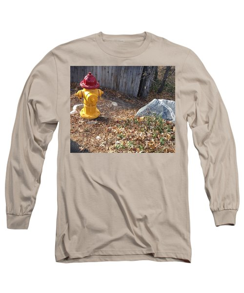 Long Sleeve T-Shirt featuring the photograph Fire Hydrant Checking Its Facerock by Richard W Linford