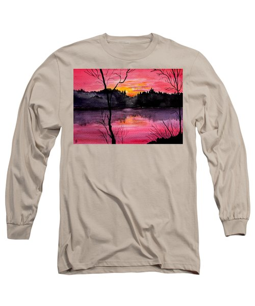 Fire In The Sky    Lake Arrowhead Maine Long Sleeve T-Shirt