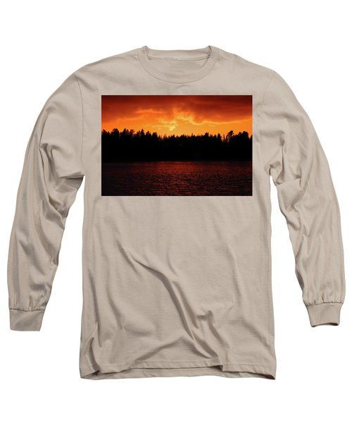 Fire In The Sky Long Sleeve T-Shirt by Teemu Tretjakov