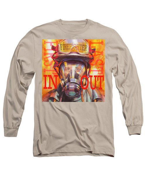 Long Sleeve T-Shirt featuring the painting Firefighter by Steve Henderson