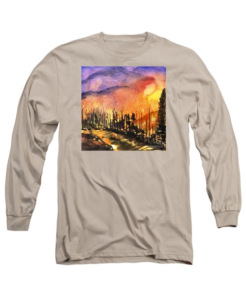 Fires In Our Mountains Tonight Long Sleeve T-Shirt by Randy Sprout