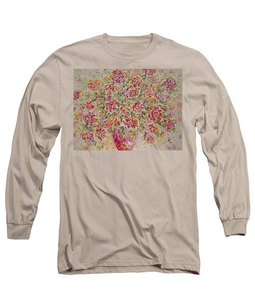 Long Sleeve T-Shirt featuring the painting First Love Flowers by Natalie Holland