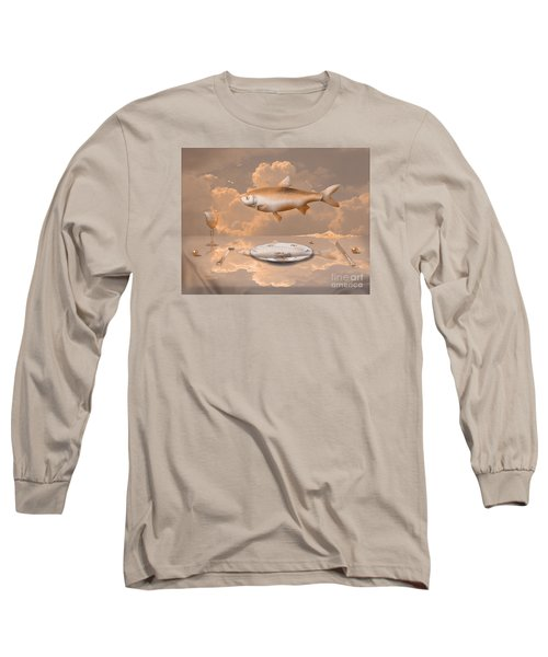 Long Sleeve T-Shirt featuring the drawing Fish Diner by Alexa Szlavics