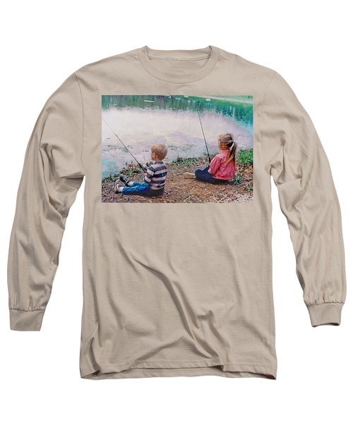Fishing At Watkins Mill Long Sleeve T-Shirt by Steve Karol