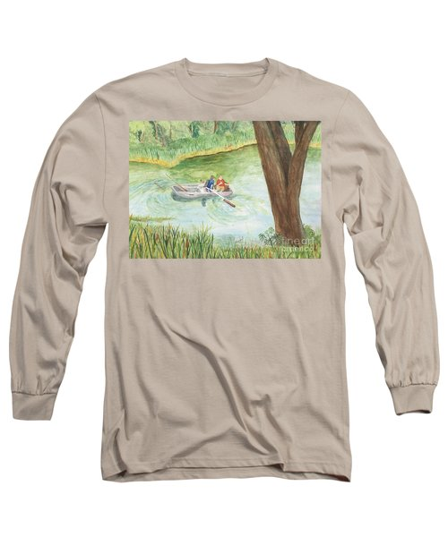 Long Sleeve T-Shirt featuring the painting Fishing Lake Tanko by Vicki  Housel