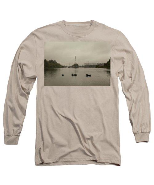Fishing On Foggy Columbia River Long Sleeve T-Shirt