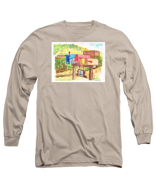 Five Mail Boxes In Route 1, San Simeon, California Long Sleeve T-Shirt by Carlos G Groppa