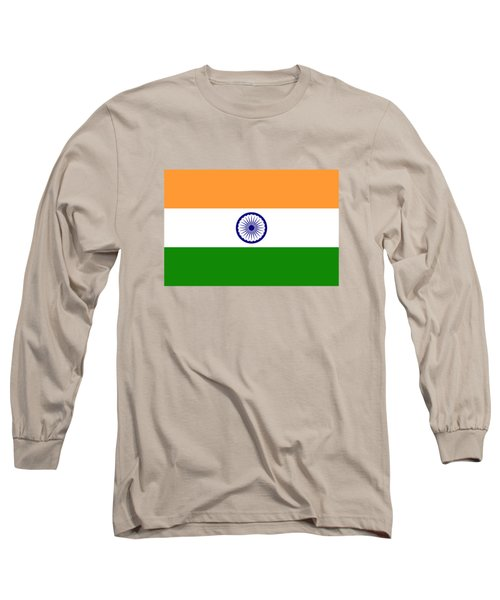Long Sleeve T-Shirt featuring the digital art Flag Of India Authentic Version by Bruce Stanfield