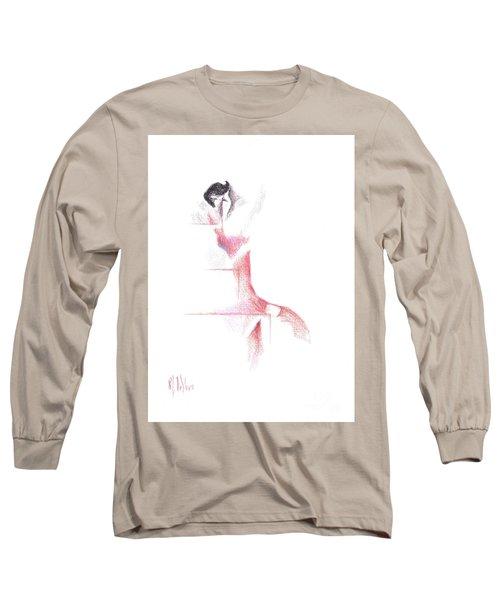 Long Sleeve T-Shirt featuring the painting Flamenco Geometric Cc101 by Kip DeVore