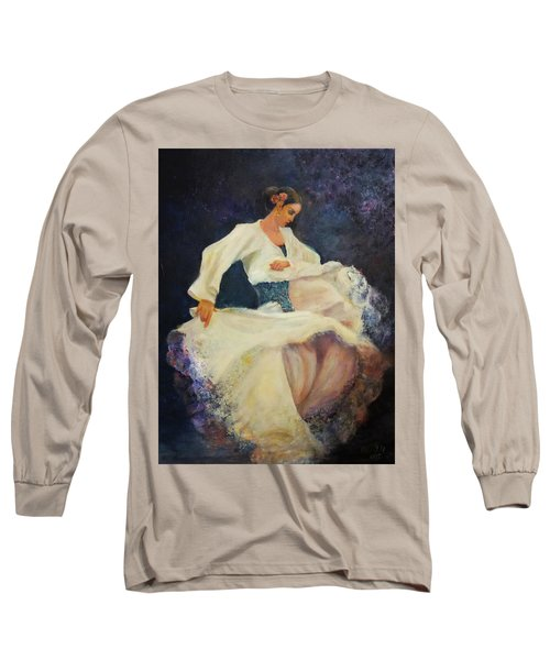 Flamenco In White Long Sleeve T-Shirt