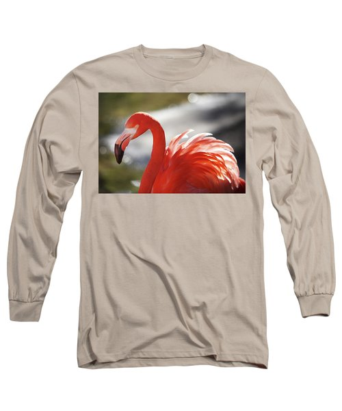 Long Sleeve T-Shirt featuring the photograph Flamingo 2 by Marie Leslie