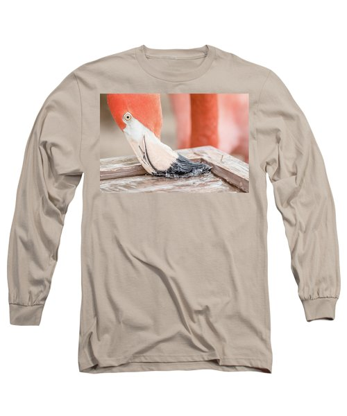 Long Sleeve T-Shirt featuring the photograph Flamingo At Sea World In Orlando Florida by Peter Ciro