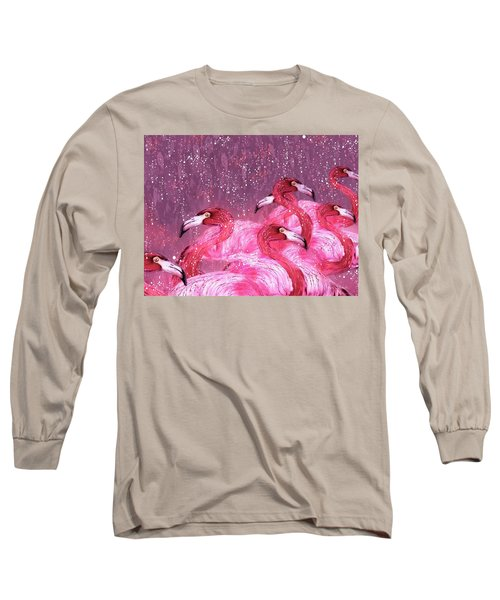 Flamingo Frenzy Long Sleeve T-Shirt by Barbara Chichester