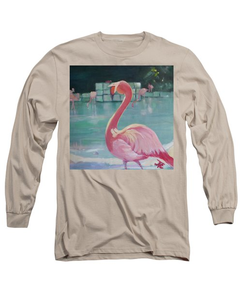 Flamingo Long Sleeve T-Shirt by Julie Todd-Cundiff