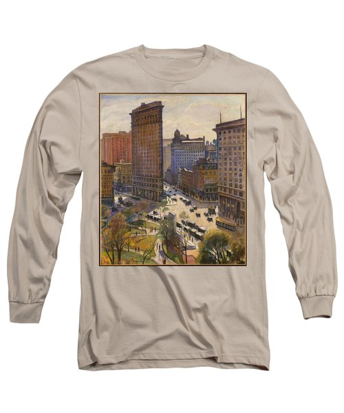 Long Sleeve T-Shirt featuring the painting Flatiron Building New York By Samuel Halpert by Samuel Halpert