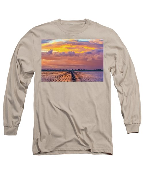 Flooded Field At Sunset Long Sleeve T-Shirt