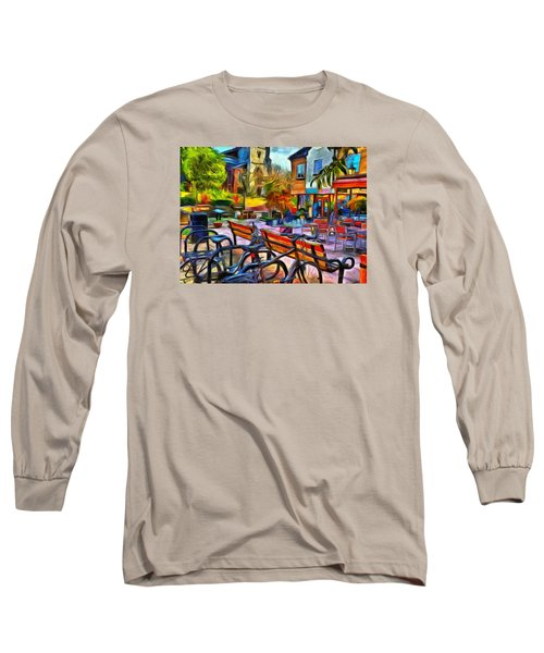 Long Sleeve T-Shirt featuring the digital art Floppy Bikes And Empty Benches by Leigh Kemp