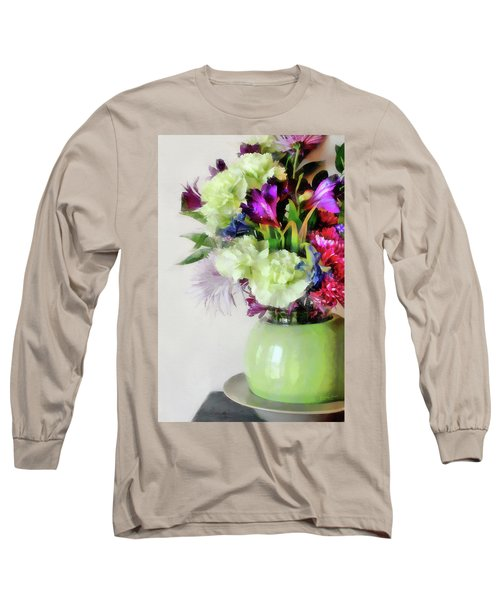 Floral Bouquet In Green Long Sleeve T-Shirt