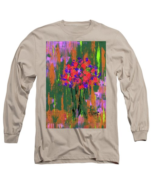Long Sleeve T-Shirt featuring the painting Floral Impresions by P J Lewis