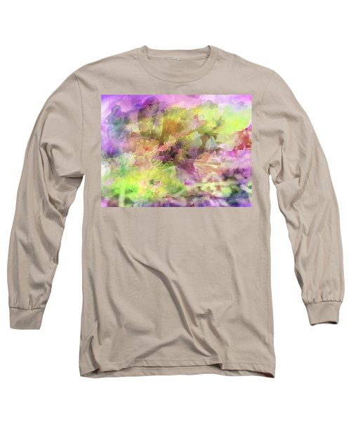 Floral Pastel Abstract Long Sleeve T-Shirt by Mikki Cucuzzo