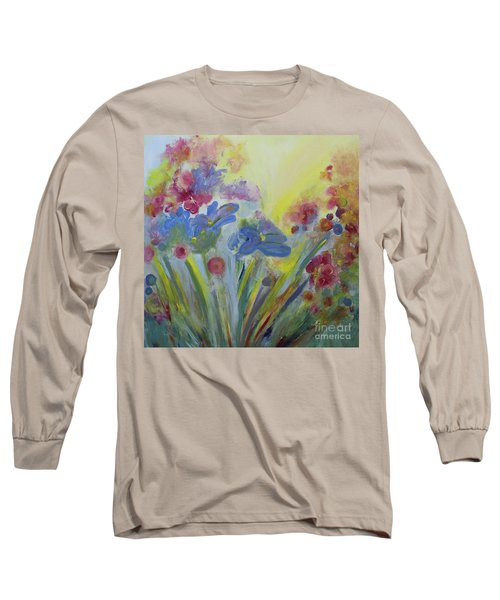 Long Sleeve T-Shirt featuring the painting Floral Splendor by Stacey Zimmerman