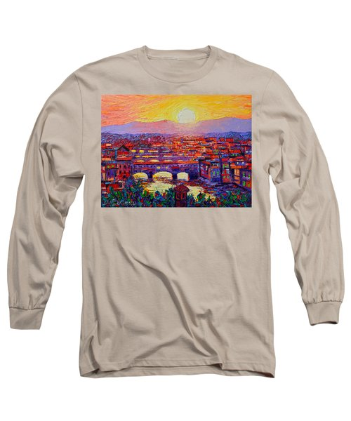 Florence Sunset Over Ponte Vecchio Abstract Impressionist Knife Oil Painting By Ana Maria Edulescu Long Sleeve T-Shirt