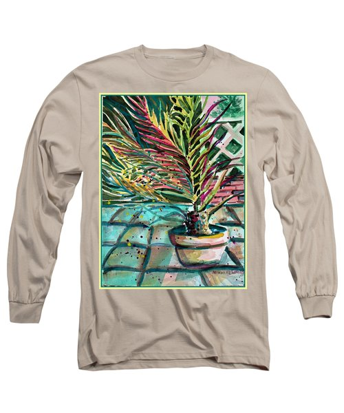 Long Sleeve T-Shirt featuring the painting Florescent Palm by Mindy Newman