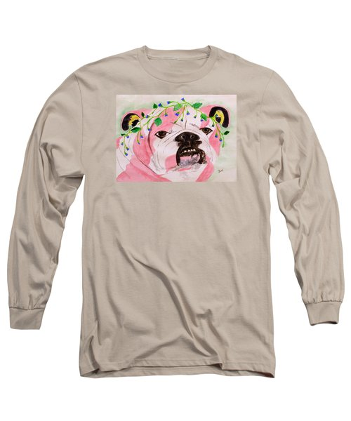 Long Sleeve T-Shirt featuring the painting Flower Dog 3 by Hilda and Jose Garrancho