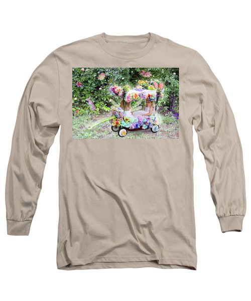 Flower Fairies In A Flower Mobile Long Sleeve T-Shirt by Lise Winne