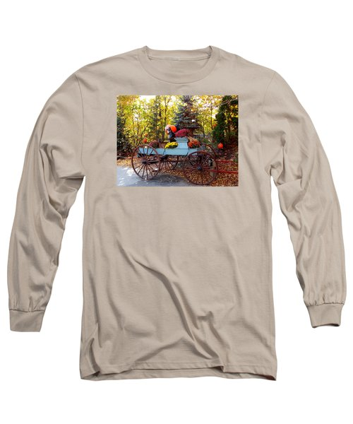 Flower Filled Wagon Long Sleeve T-Shirt by Catherine Gagne
