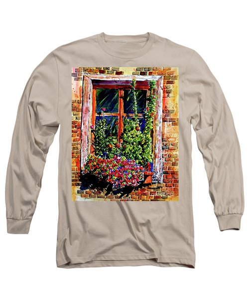 Long Sleeve T-Shirt featuring the painting Flower Window by Terry Banderas