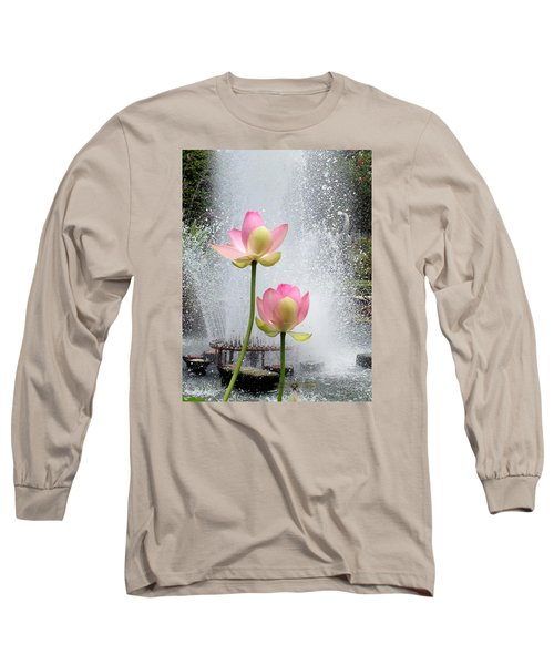 Flowers And Fountains Long Sleeve T-Shirt by Helen Haw