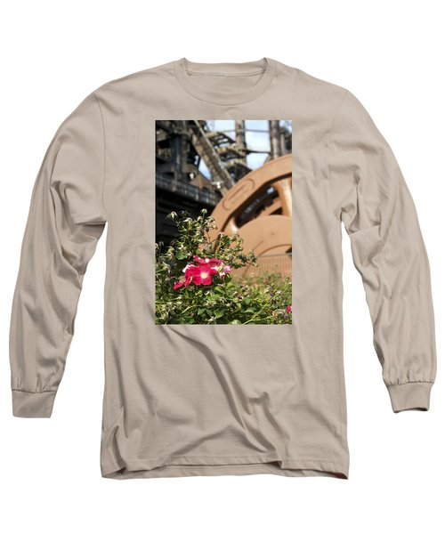 Long Sleeve T-Shirt featuring the photograph Flowers And Steel by Michael Dorn