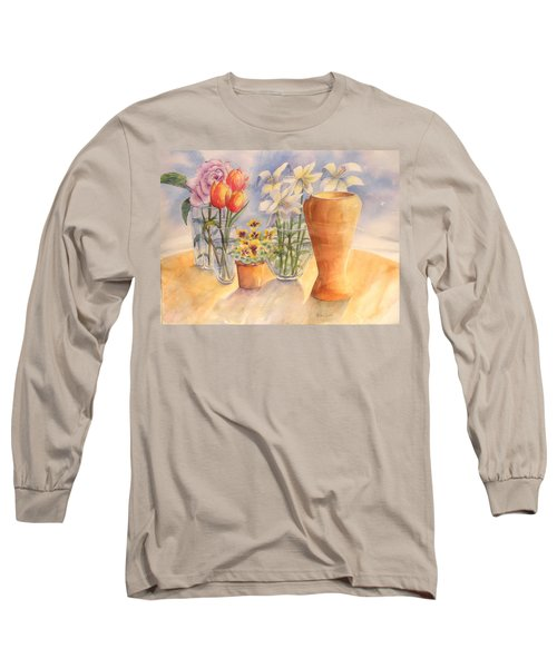 Flowers And Terra Cotta Long Sleeve T-Shirt