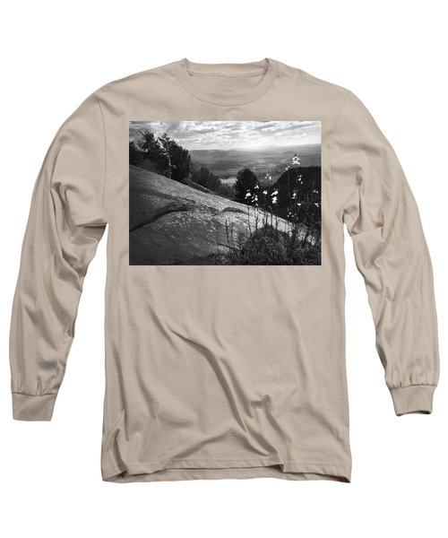 Flowers At Table Rock Overlook In Black And White Three Long Sleeve T-Shirt