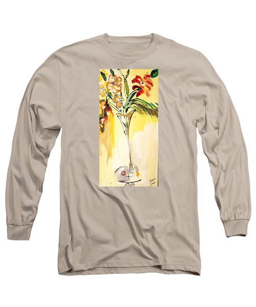 Flowers Flowing In Yellow Long Sleeve T-Shirt by Amara Dacer