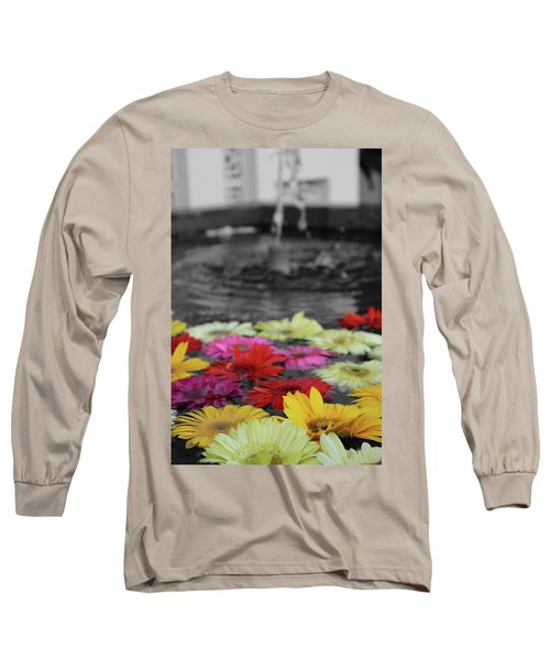 Flowers In Fountain Long Sleeve T-Shirt