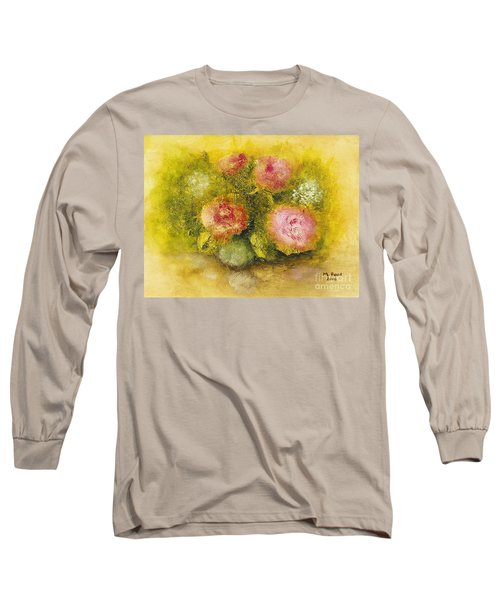 Long Sleeve T-Shirt featuring the painting Flowers Pink by Marlene Book