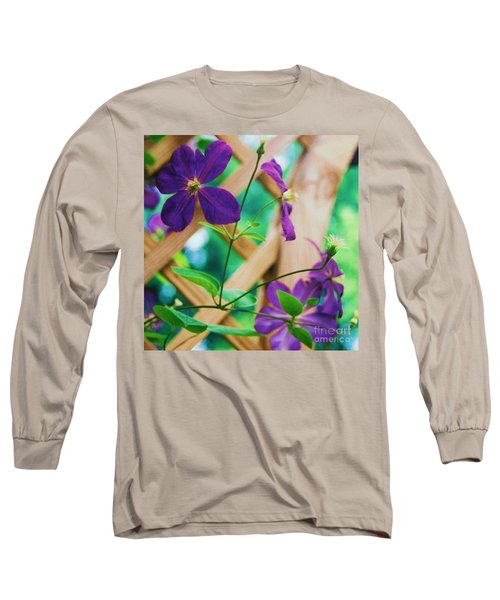 Long Sleeve T-Shirt featuring the painting Flowers Purple by Eric  Schiabor