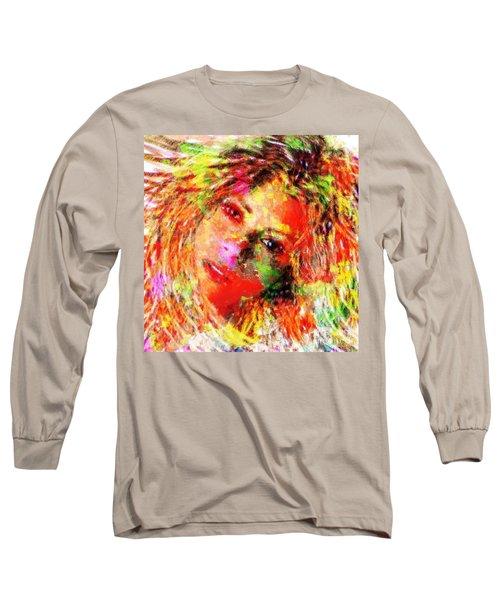 Flowery Shakira Long Sleeve T-Shirt by Navo Art