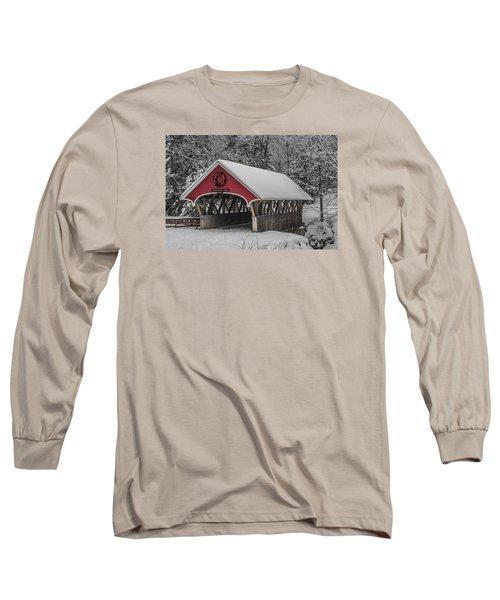 Flume Covered Bridge In Winter Long Sleeve T-Shirt