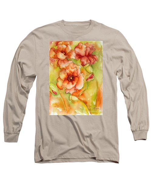 Long Sleeve T-Shirt featuring the painting Flying With The Wind Poppies by Inese Poga
