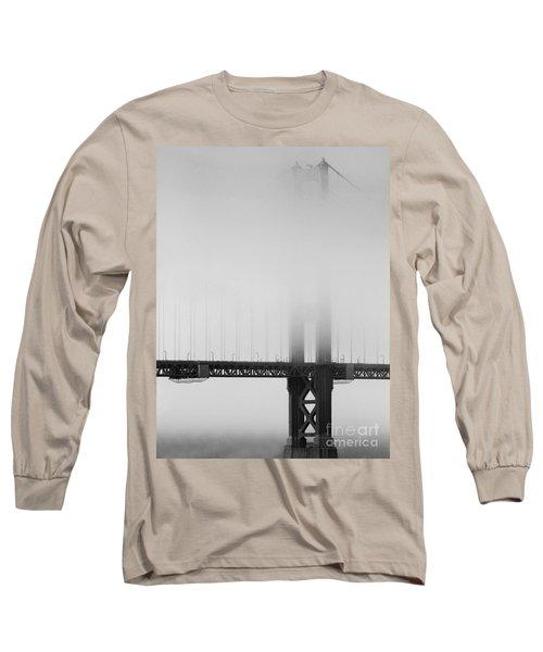 Fog At The Golden Gate Bridge 4 - Black And White Long Sleeve T-Shirt