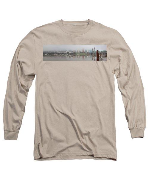 Foggy Day Along Portland Waterfront Panorama Long Sleeve T-Shirt
