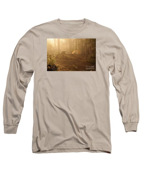 Long Sleeve T-Shirt featuring the photograph Foggy Morning At The Campsite by Larry Ricker