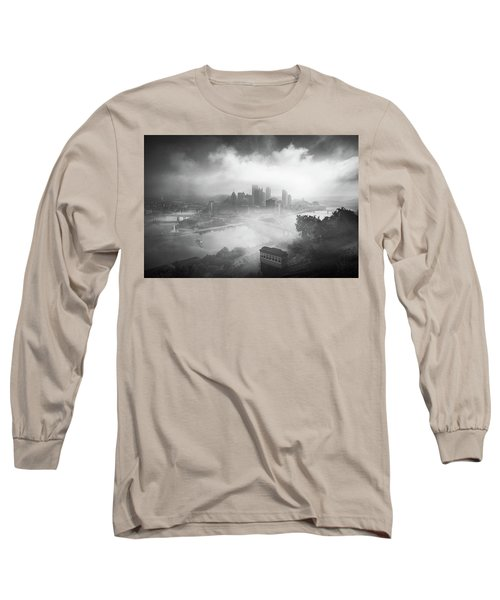 Long Sleeve T-Shirt featuring the photograph Foggy Pittsburgh  by Emmanuel Panagiotakis