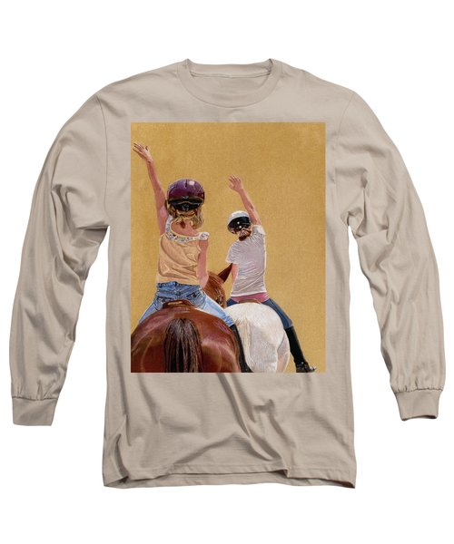 Follow The Leader - Horseback Riding Lesson Painting Long Sleeve T-Shirt