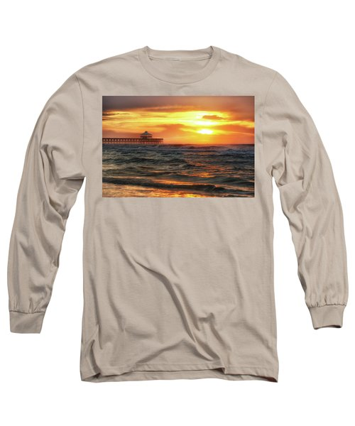 Folly Beach Pier Sunrise Long Sleeve T-Shirt