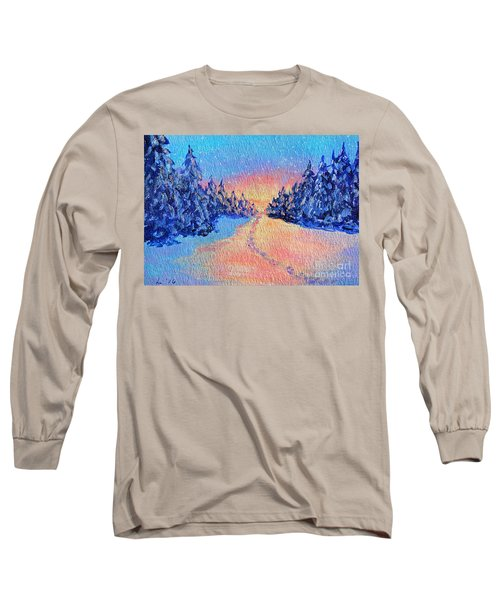Long Sleeve T-Shirt featuring the painting Footprints In The Snow by Li Newton